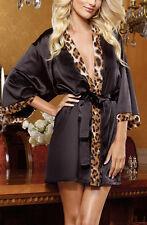 Sexy Leopard Babydoll Satin negligee Wrap Ceinture Lingerie Sleepwear robe black