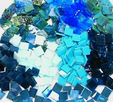"""110 Mosaic Tiles 1/2"""" BLUE MIX with MIRROR and IRIDESCENT Premium Stained Glass"""