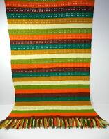 Vintage Stripe Throw Blanket Crochet Afghan Handmade