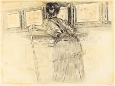 Paul Helleu Reproduction: Veiwing the Watteaus at the Louvre - Fine Art Print