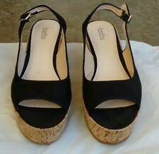 12cc9340823ea8 Womens Betts summer high wedge Cork heels black sandals size 8.