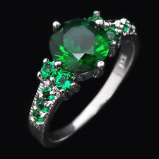 5.80/ct Green Emerald CZ Wedding Rings Women's 10KT White Gold Filled Size 6-10