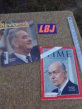 Vintage Newsweek Nov 9 '64  LB Johnson & Time De 6 '63 Dean Rusk magazines