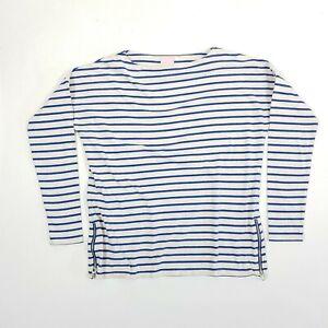 JOULES Liliana Top UK6 Blue Striped Jersey Zipper Detail Hem Bunny Logo Cute