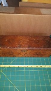 """Old Hand Carved Wooden Box 12.25"""" Long ×3 5/8""""tall x4""""wide Folk Art? Tiger Wood"""