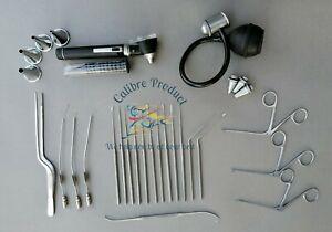 Micro shea,Hartman Ear Forceps,Barren Suction Tube & Mini Otoscope Ent Surgical