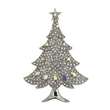 Luxury Vintage Style White Winter Christmas Tree Shiny Diamante Brooch Pin BR405