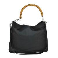 tm3251 Authentic GUCCI Black GG Logos Bamboo Nylon Shoulder Bag Vintage Italy