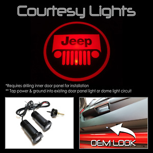 Lumenz CL3 Red LED Courtesy Logo Lights Ghost Shadow for Jeep 100541