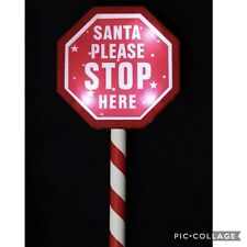 Light up Christmas Sign Santa Stop Here post Out Door Garden Use Battery 50cm