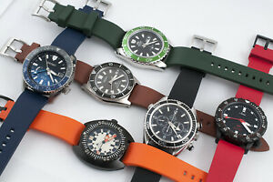 Real Rubber Quick Release Dive Watch Strap - Band FKM Silicone Vulcanized Curved