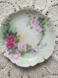 """Antique Penaoe RC Bavaria 6"""" Round Roses Plate With Hanger"""