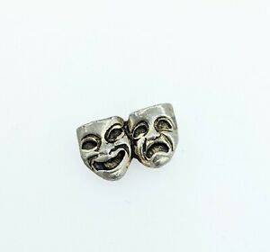 Vintage Comedy Tragedy MASKS Theater MASK Tie Tack  LAPEL PIN Theatre