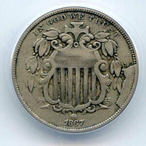 1867 Shield Nickel No Rays, Retained Cud, 5c ANACS VF30, Mint Error