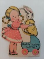 Vtg 1940s GIRL Puts BUNNY DOLL in BABY BUGGY Norcross EASTER GREETING CARD