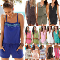 Women Boho Beach Shorts Jumpsuit Playsuit Rompers Holiday Summer Loose Pants USA