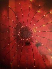 Halloween Light Up Cobweb With Spiders 100 Orange Lights/Decoration/Prop