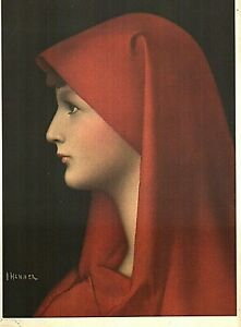 """J.J. HENNER """"FABIOLA"""" BY ROBERTO HOESCH LITHOGRAPH PRINT 9 X 12 INCHES"""