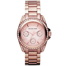 NEW MICHAEL KORS LADIES MINI BLAIR ROSE GOLD CHRONO WATCH - MK5613 - RRP £229