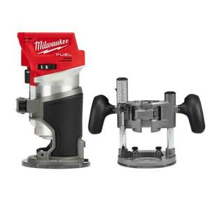 18V Lithium-Ion Brushless Cordless Compact Router w/ Compact Router Plunge Base