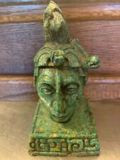 AZTEC WARRIOR SCULPTURE BUST HEAD turquoise emerald Mayan green tribal MCM ART