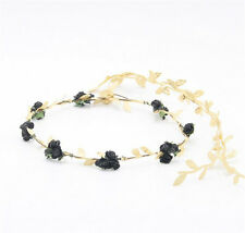 Women Gold Leaf Flower Tiara Headband Head Piece Hair Band Hair Jewelry