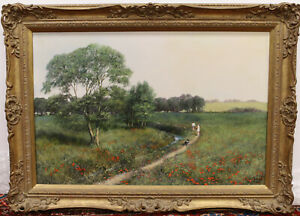 Clive Madgwick R.B.A (1934-2005) Poppy Fields With Figures Oil On Canvas Signed
