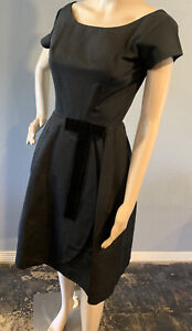 Vintage Black Retro Dress, Homemade 1960s Size 4, Lined W/ Puff Skirt, Classic!