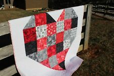 """Valentine Quilt-Quilt with Heart-Heart Quilt-Black and Red Quit 60"""" x 60"""""""