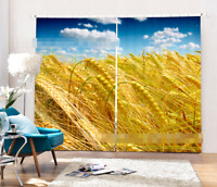 3D Golden Wheat Blockout Photo Curtain Printing Curtains Drapes Fabric Window AU