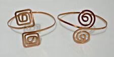 2 Belly Dancing Copper Cuffs Adjustable Hammered Bracelet Handmade Boho Arm Band