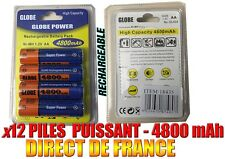 12 Piles AA 4800mAh Rechargeable Mignon LR6 1.2V Ni-Mh TRES PUISSANT - DE FRANCE