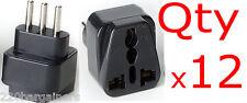 Italy Plug Adapter - 12PK - Universal Plug to Italian 3 Pin Plug