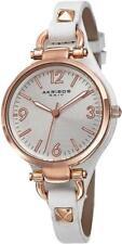 Akribos XXIV AK761WTR Swiss Quartz Leather Strap Rosetone White Womens Watch