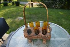 Mid Century Real Log 4'' Amber Shot Glass Holder Wrought iron Handle UNIQUE