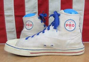 Vintage 1960s National Pro VSC White Canvas Basketball Sneakers Gym Shoes Sz.12