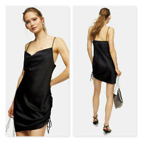 TOPSHOP | Womens Black Ruched Mini Slip Dress NEW + TAGS [ Size AU 10 or US 6 ]