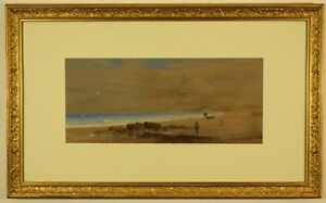Antique Pastel on Paper, Figures on a Beach by George Lowthian Hall
