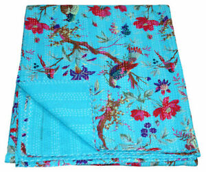 Bird Print Patchwork Twin Cotton Kantha Quilt Throw Bedsprad Blanket Indian