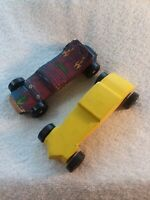 Vintage Handmade Wooden Pinewood Derby Cars with Decals - Lot of 2