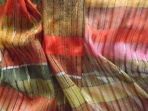 90 x 300 cms Vintage Poly Silk Chiffon Fabric Stripes with Gold Metallic Thread