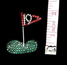 New Vintage Bauer Jewelry Golfers 19th Hole Brooche Pin Swarovski Rhinestones