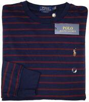 NEW $65 Polo Ralph Lauren Long Sleeve Tee Shirt Men Navy Blue Classic Fit Stripe