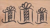 "three gifts denami Wood Mounted Rubber Stamp  2 1/2x 4 1/2""  Free Shipping"