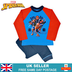 Boys Spider-Man Pyjamas   Childrens Marvel Superhero Character Long Sleeve Pjs