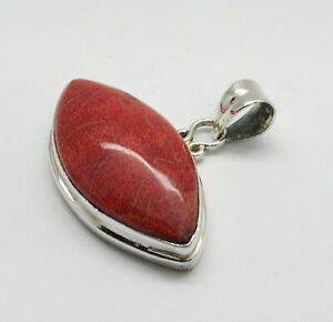 01 Pendant 925 Sterling Silver Natural Pacific Coral 40mm Wide Pendant Jewelry