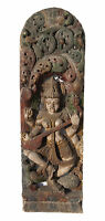 """Antiguo Cuadro Madera Tallado Estatua Saraswati Hindú 121 cm-47.63"""" Nepal -"""