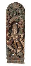 "Ancien Panneau bois sculpté statue hindoue Saraswati 121 cm-47.63"" Nepal-Inde"