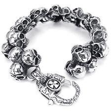 MENDINO Heavy Men's 316L Stainless Steel Bracelet Gothic Skull Link Biker Silver
