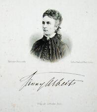 c1870 Alberts Fanny Pianistin Leipzig Wiesbaden Stahlstich-Porträt Weger